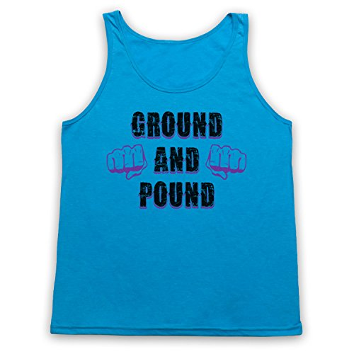 Ground And Pound MMA Fighting Slogan Tank-Top Weste, Neon Blau, Medium