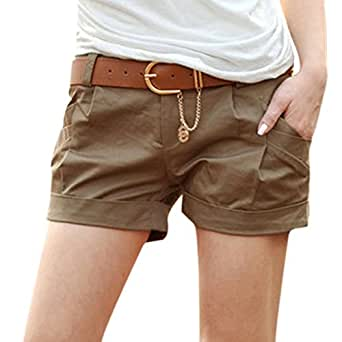 Etosell Womens Casual Shorts Crimping Short Pant W/Belt Low Waisted Trousers Dark Khaki L