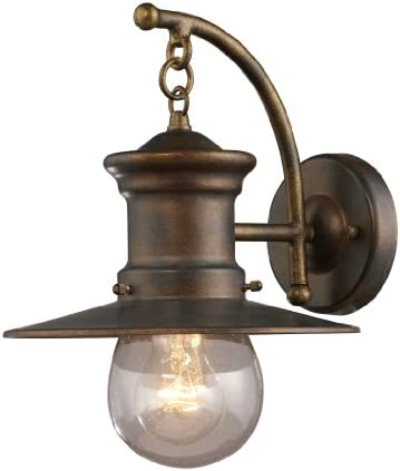 Elk Lighting 42006 1 Maritime – One Light Wall Bracket, Hazelnut Bronze Finish with Clear Seeded Glass