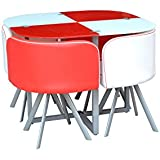 Space Saver Glass Table with 4 Chairs Red & White by Jane Harris Interiors