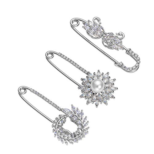 (Top Plaza Flowers Scarf Clip Diamante Lapel Pin Suit Sweater Scarves Brooch Pins Rhinstones Safety Pin Wedding Banquet Jewelry - 3 Pcs #3)