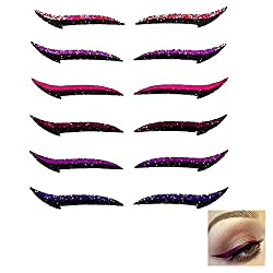 6 Pairs Reusable Eyeliner Stickers, Lazy Invisible Self-adhesivecat Eye Makeup Sticker Waterproof Instant Outline Winged…