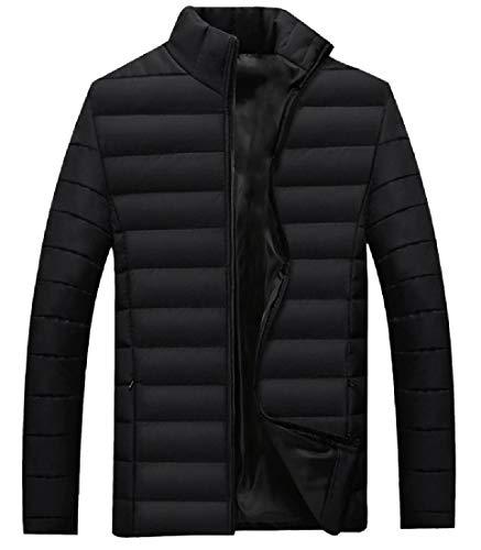 Collar Coat Thick Stand Black Padded Windproof Mens Zip Closure RkBaoye Stn0vwIq8x