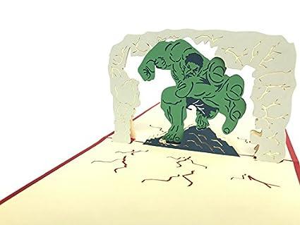 Tarjeta De Cumpleaños Marvel Hulk 3d Pop Up Tarjeta De
