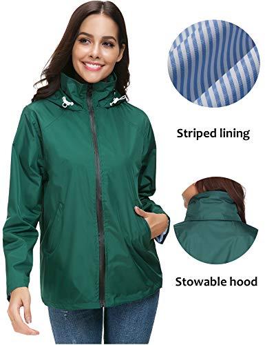 (LOMON Outdoor Rain Jacket Rainwear Poncho for Women Ladies Waterproof Jacket Women Raincoat Dark Green M)