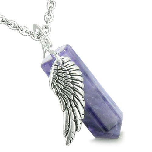 Wand Pendant Crystal (Angel Wing Archangel Raphael Magic Wand Crystal Point Purple Quartz Pendant 22 Inch Necklace)