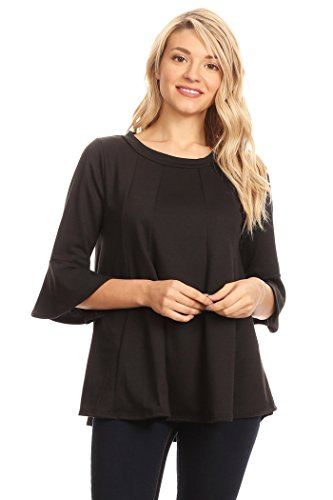 Tan Gold Flare (HEO CLOTHING Women's Plus & Regular 3/4 Bell Sleeve Swing Tunic Top Loose Fit Flare T Shirt Dress Top (Black, 2XL))