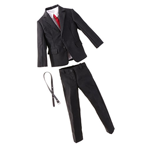 - MonkeyJack 1/6 Custom Male Gentleman Suit Outfit Formal Clothing Business Suit Set for 12'' Hot Toys Action Figure Body Black