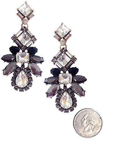 - Large Vintage Retro Style Black Gray Silver Marcasite Grey Rhinestone Statement Earrings