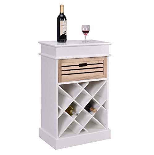 Wine Cabinet with Drawer in White – Wood Liquor Storage Unit w Removable Basket is Best for Your Favorite Bottles of Wine, Liquors, & Drinking Accessories - Bundle w Floor Protector Pads