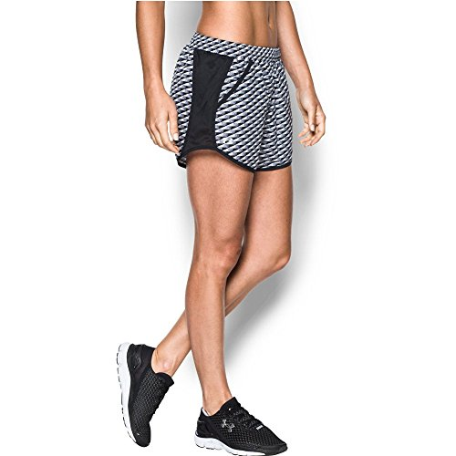 Under Armour Women's Fly-By Printed Run Short, Black (019), X-Large