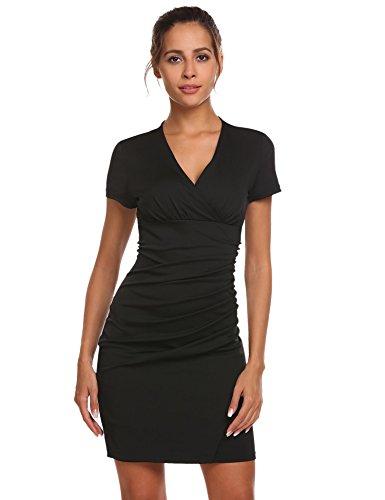 Kleid Bodycon Knielang Cocktailkleid Rückenfreies Meaneor Damen Businesskleid Schwarz Kurzarm 3 Figurbetontes Meerjungfrau qnf0f7wt8