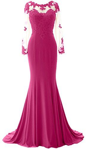 MACloth Elegant Mermaid Long Sleeve Prom Dress Jersey Wedding Party ...