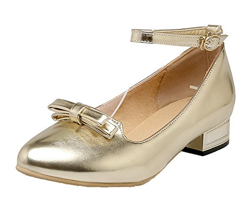 VogueZone009 Women's Low-Heels Solid Buckle PU Pointed Closed Toe Pumps-Shoes Gold rvkG0tlRVq
