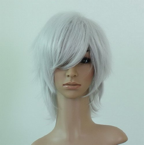 silver white ShortstraightCurly hair tail cosplay wig Wig APH faithful dog fox X servant SS Royal fox deity pair Seto Chi Future Diary autumn wig - Royal Servant Costume