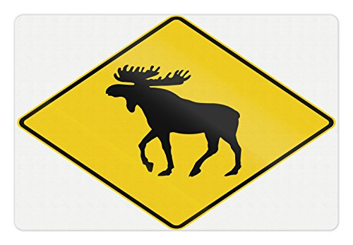 Elk Sign (Moose Pet Mats for Food and Water by Lunarable, Canadian Road Traffic Warning Sign with Elk Crossing Solitary Animals Print, Rectangle Non-Slip Rubber Mat for Dogs and Cats, Yellow and Black)