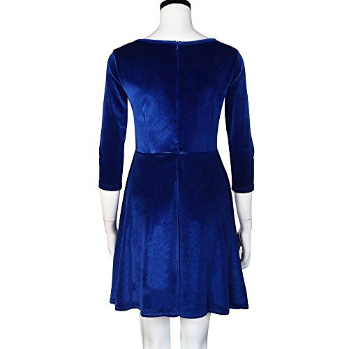 Robe Hiver rond Automne Kingwo velours Robe Bleu en Robe Femmes Col adHqwqS