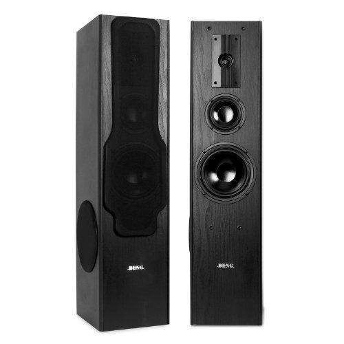 Beng 3-Wege Bassreflex-Boxen Standlautsprecher Standboxen mit Sidefiring Subwoofer (880W, 20 Hz - 20 kHz) Paar schwarz