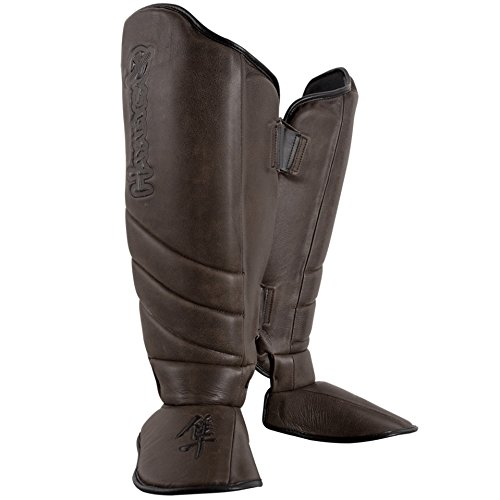 Hayabusa Kanpeki Elite 2.0 Striking Shin Guards, X-Large, Brown