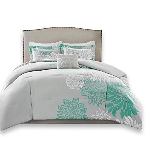 Piece Set 5 Down (Comfort Spaces – Enya Comforter Set - 5 Piece – Aqua, Grey – Floral Printed – Full/Queen Size, Includes 1 Comforter, 2 Shams, 1 Decorative Pillow, 1 Bed Skirt)