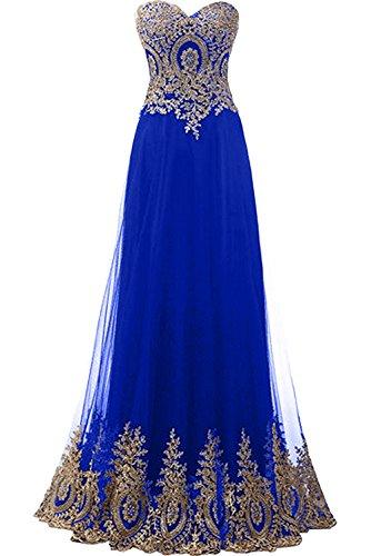 Herzform Abendkleider Damen Ballkleider Royalblau Applikation Neu Lang Ivydressing Partykleider RPB6q114