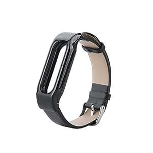 COOSA Xiaomi único y atractivo pulseras cuero reemplazo de la correa con cierres metálicos (Negro)