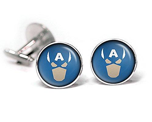 Captain America Cufflinks, Avengers Tie Clip Tack, Captain America Jewelry, Superhero Wedding Cuff Links, Groomsmen Gifts Groomsman Gift