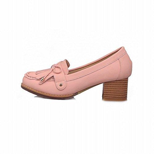 Show Shine Womens Fashion Bows Tassels Mid Chunky Heel Shoes Pink dU3pwDl0