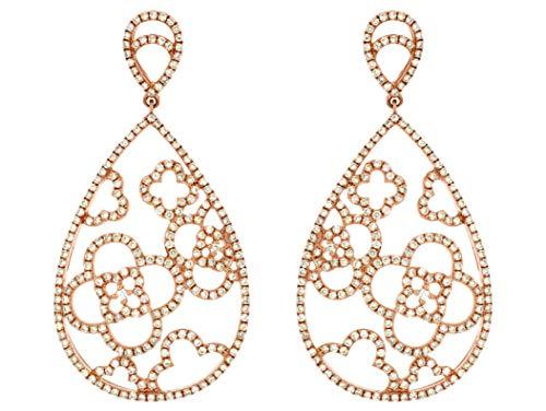 Milano Jewelers Extra Large 1.85CT Diamond 14KT Rose Gold Tear Drop Open Flower Earrings ()