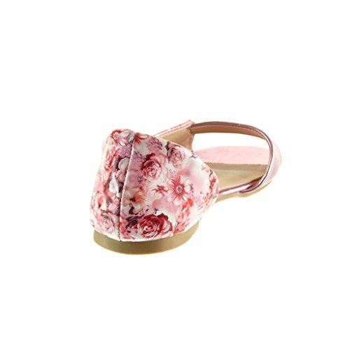 Angkorly - Sandali Scarpe Donna - Aperte - Sexy - Fiori - String Perizoma - Fiocco Tacco 1 Cm - Rosa
