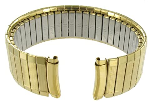 16-19mm Speidel Twist-O-Flex Stainless Curved End Elegant Link Gold Tone Metal Watch Band 1395/32 - Curved Twist