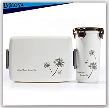 2 pcs/Set Bento caja de almuerzo con una botella Watter microondas horno envase de