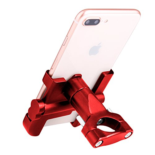 Elegant Choise Bike Phone Mount, Bicycle Holder on Handlebar for iPhone X 8 8 Plus 7 7 Plus 6s 6+ 6 SE, Samsung S8 S7 S6 S5 Edge Note & Other Mobile Smartphone Devices (Red)