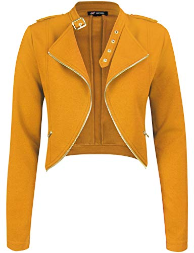 - Michel Womens Fleece Jacket Classic Crop Rider Zip UP Jacket Large
