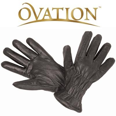 (Ovation Ladies Winter Leather Show Gloves - Color:Black Size:A)