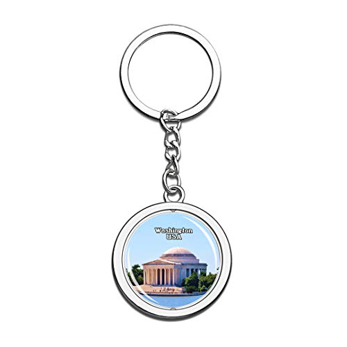 USA United States Keychain Thomas Jefferson Memorial Washington Key Chain 3D Crystal Spinning Round Stainless Steel Keychains Travel City Souvenirs Key Chain Ring]()