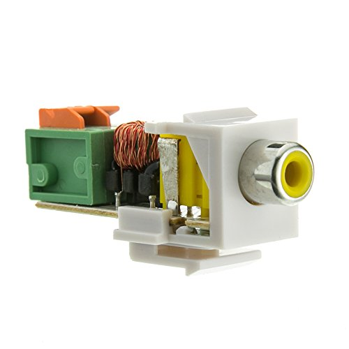 Keystone Insert, White, RCA Female to Balun over twister pair (Yellow RCA), Working Distance 350 foot - Blank Decora Inline Coupler Jack Modular USB Outlet Wall Plate Conductor