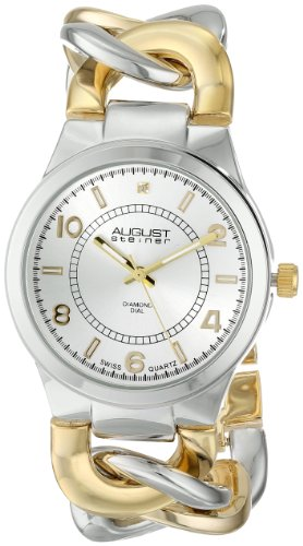 August Steiner Women's AS8112TTG Swiss Quartz Diamond Two-tone Twist Chain Bracelet Watch