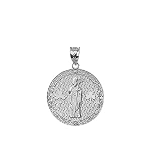 10k White Gold Saint Patrick Shamrock Diamond Round Medal Pendant (1