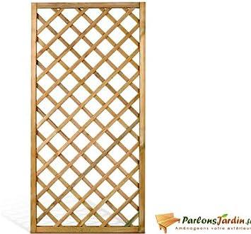 celosía vertical malla rombo de madera tratado L90 x H180 cm ...