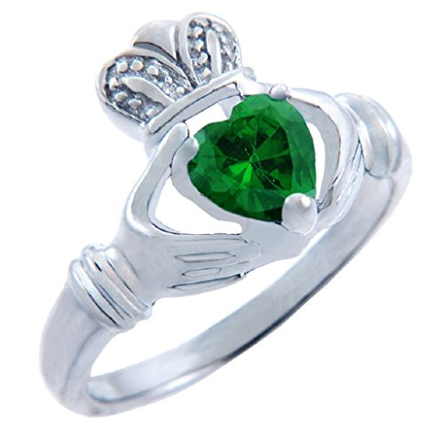 Personalized Sterling Silver Solitaire Green CZ Heart May Birthstone Claddagh Ring (Size 6)