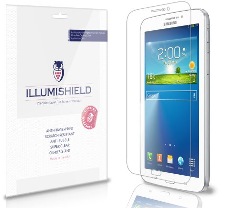 iLLumiShield - Samsung Galaxy Tab 3 7.0 Screen Protector Ultra Clear HD Film with Anti-Bubble and Anti-Fingerprint - Invisible LCD Shield - Lifetime Replacement - [3-Pack] (Model: SM-T211)