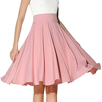 XINUO Women Summer Skirts Knee Length 360° Big Swing Skater Party Full Midi Skirt