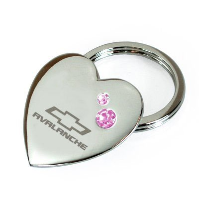 Avalanche Chevrolet Pink Crystal Heart Metal Key Chain