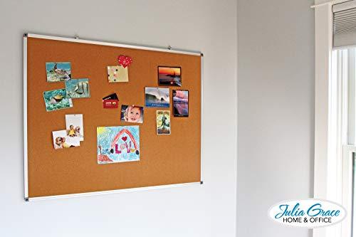 Large Cork Board 48 x 36 Inches | Silver Aluminium Frame Bulletin Board | Wall Mounted Notice Board | Full Warranty Photo #5