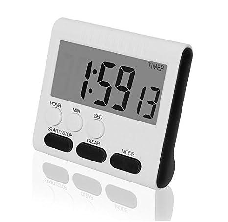 Ginsco Temporizador de Cocina Temporizador Digital Reloj Magnético Digital para 24 Horas Reloj Temporizador Digital con El Soporte Pantalla Grande Blanco y ...