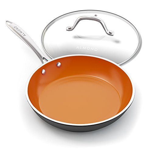 Nonstick Ceramic Copper Frying Pan: Non Stick Skillet with Glass Lid - Round Aluminum Saute Pan For Gas, Electric and Induction Cooktops - 10 Inches by Almond (Image #3)