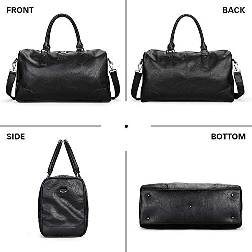 BAIGIO Men's Vintage Duffel Weekend Bag Oversize Travel Tote Faux Leather Overnight...