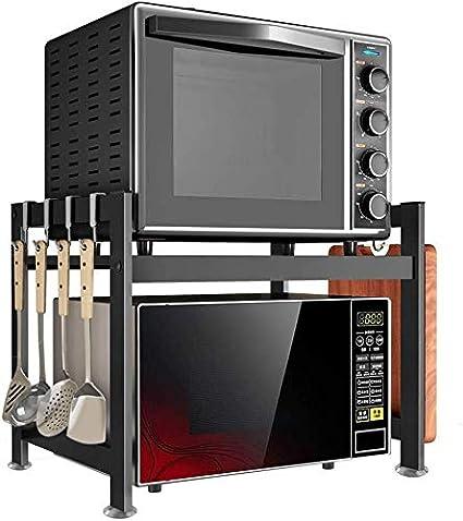 Estantes de cocina Microondas horno de carro soporte del estante con 5 ganchos Mueble de cocina organizador del almacenaje de ahorro de espacio de acero inoxidable duradero espacio de la cocina, exper