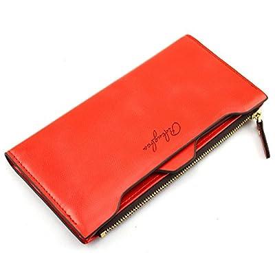 Pidengbao Women's Long Solid Zipper Hasp Clutch Wallet